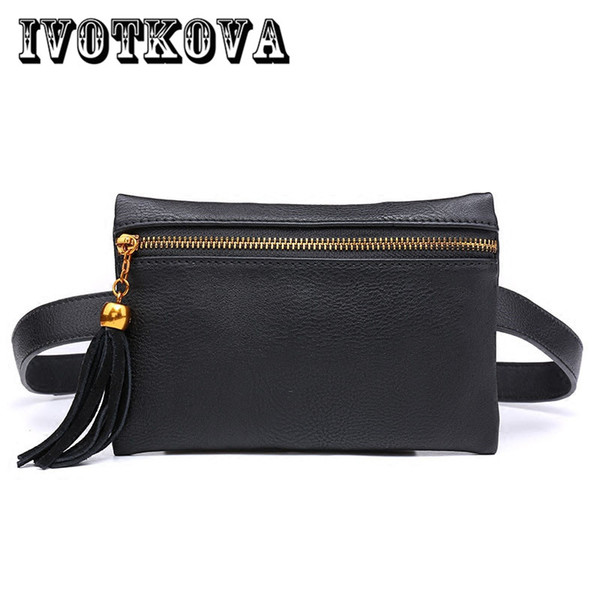 ivotkova new fashion waist bags women fanny pack ladies tassel purse change purse belt band small coin drop shipping (416139545) photo