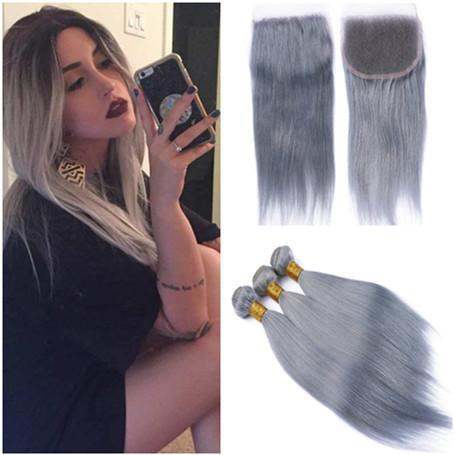Silver grey 4x4 lace clo ure middle 3 part with bundle deal traight colored grey virgin brazilian human hair weave with clo ure