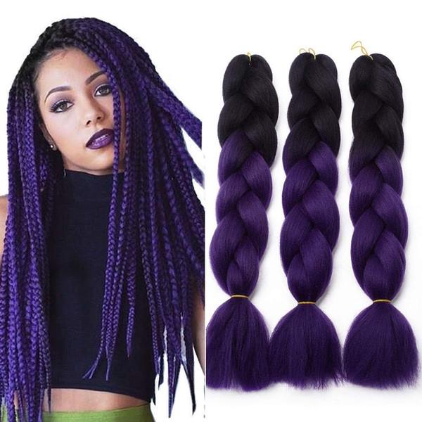 Kanekalon Джамбо плетение волос синтетические два тона черный коричневый Джамбо косы