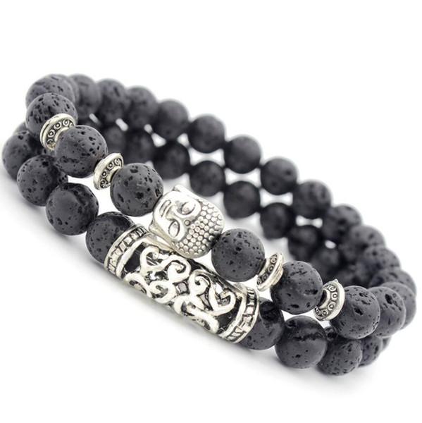 designer_jewelry_beaded_bracelets_natural_lava_stone_buddha's_head_lucky_bracelets_energy_muiltlayer_bracelets_for_unisex