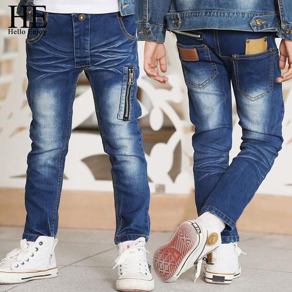 Он Привет наслаждайтесь дети джинсы для мальчиков брюки молния узкие джинсы весна осень дизайнер высокое качество одежды для детей брюки Y18103008