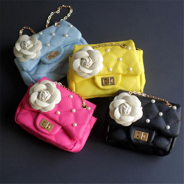 kafvnie children handbag girl shoulder bag fashion flower rivet glitter metal chain bucket kid flap bag shiny party baby purse (564305309) photo
