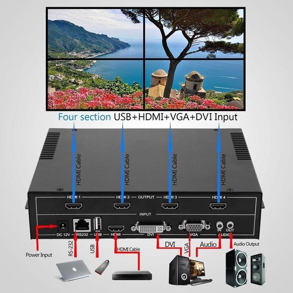 1 шт. / лот, 4 канала HDMI VGA DVI USB видео процессор 2x2 TV проектор видео настенный контроллер, Бесплатная доставка