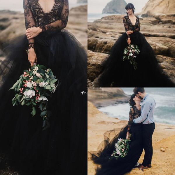 2018 Черный Свадебные Платья С Длинным Рукавом Sexy V Шеи Тюль A Line Свадебное Платье Че