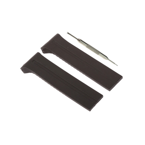 MDNEN Black Rubber Watch Band Strap 28mm Fits For Design World Timer P6750 + Tool