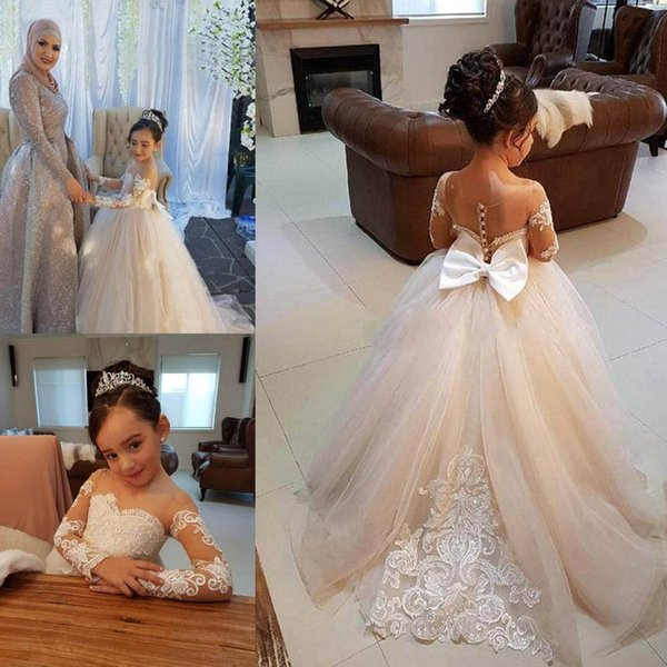 2018 Latest Cute Jewel Flower Girl Birthday Dresses Ball Gown Sheer Neck Long Sleeve With Lace Applique Kids Girls Pageant Dresses