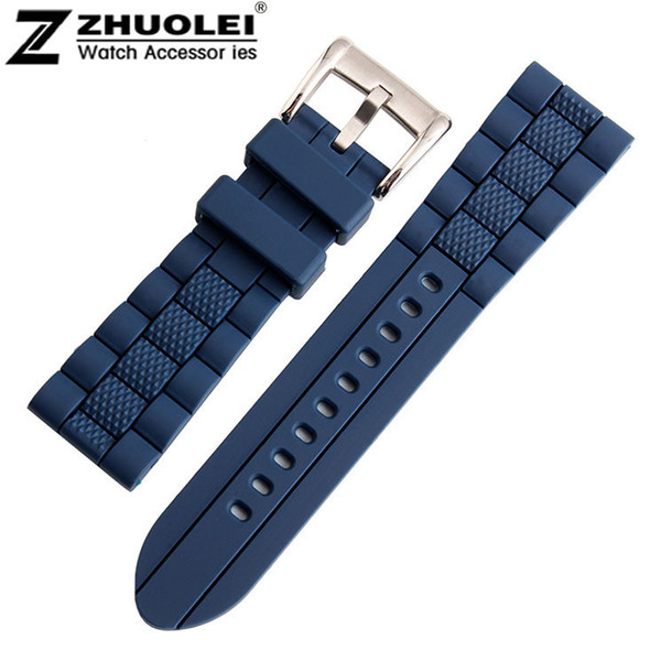23mm (Buckle 20mm) NEW High Quality Men Blue Waterproof Diving Silicone Rubber Watch BANDS Strap Free Shipping фото