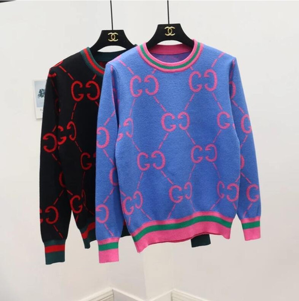 Womens Winter Sweaters Long Sleeve Vintage Womens Knitwear Pullovers High Quality Panelled Letter Print Tops Elegant Knitted sweater