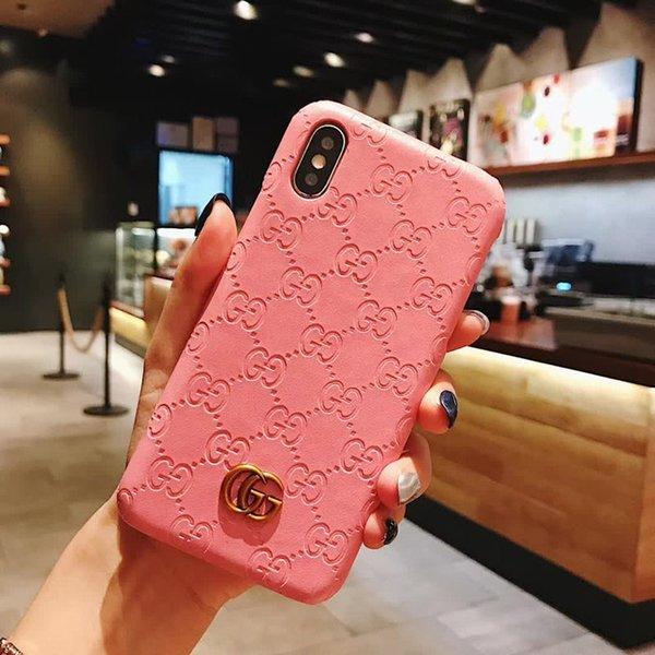 Модный роскошный чехол для телефона для Iphone X XS XR Xs Max 6 6plus 7/8 7 / 8plus Кожа Отпечаток Твердый металлический корпус с логотипом Дизайнерский чехол