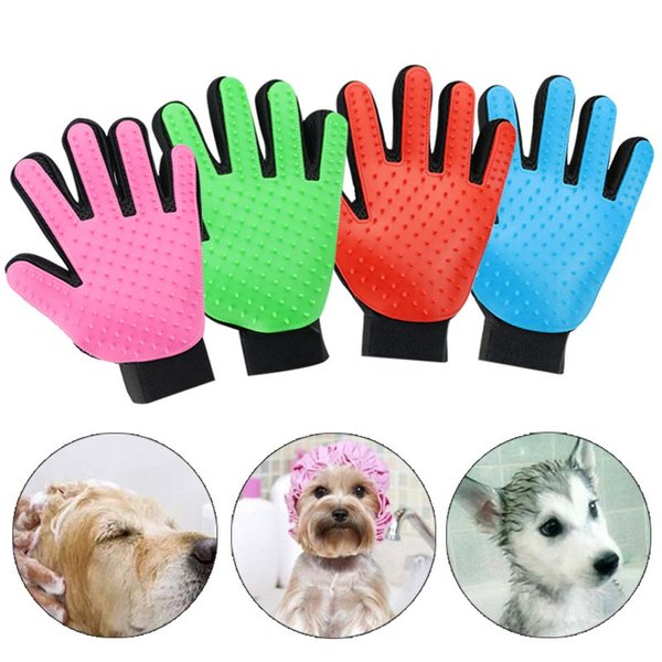 New arrival ilicone pet grooming glove bath mitt dog cat cleaning ma age hair removal grooming de hedding glove 500pc