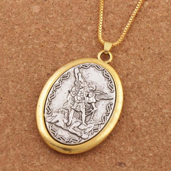10pcs/lot Catholic Patron Saint Pendant Michael St. Michael the Archangel 2inch Pendant Necklace 24 Chain N1779