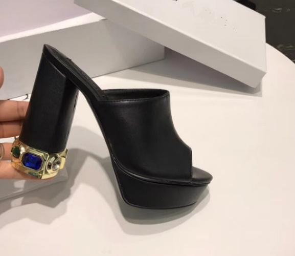 2018 Женская обувь с 3 см платформы кожаные туфли с высоким качеством тапочки на высоком каблуке летом