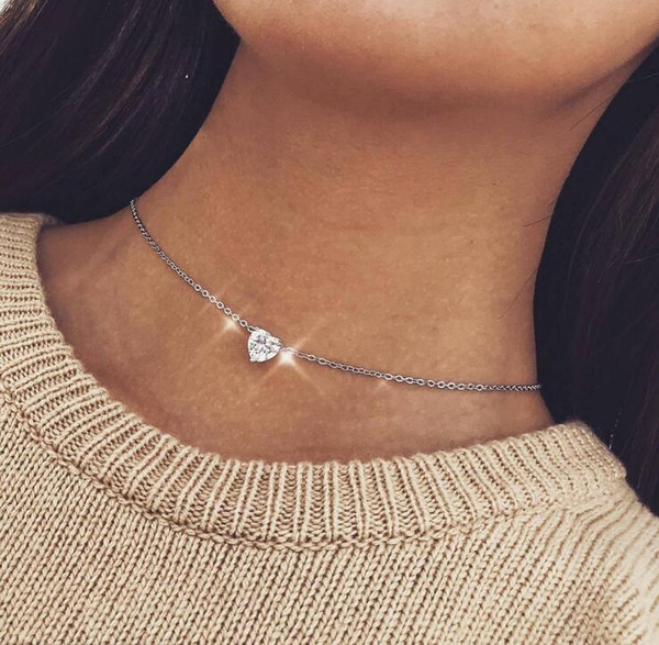Exquisite Fashion Jewelry Shine Zircon Love Heart Pendant Choker Necklace Women Collier Necklaces Lovers Jewelry Gift
