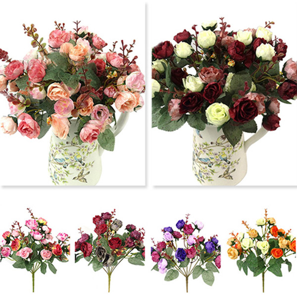 1 bouquet 21 head artificial ro e colorful  ilk flower capable fake flower  for beauty home party wedding decor