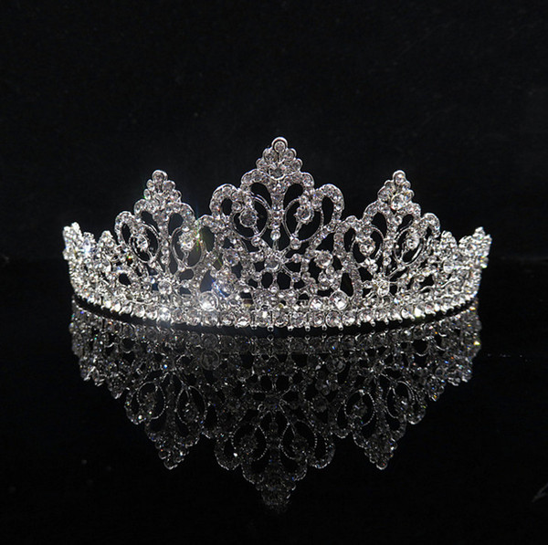 2018 New Bridal Crystal Tiara Crown Rhinestone Pearl Hair Accessories For Wedding Party Pageant Silver Hair Jewelry