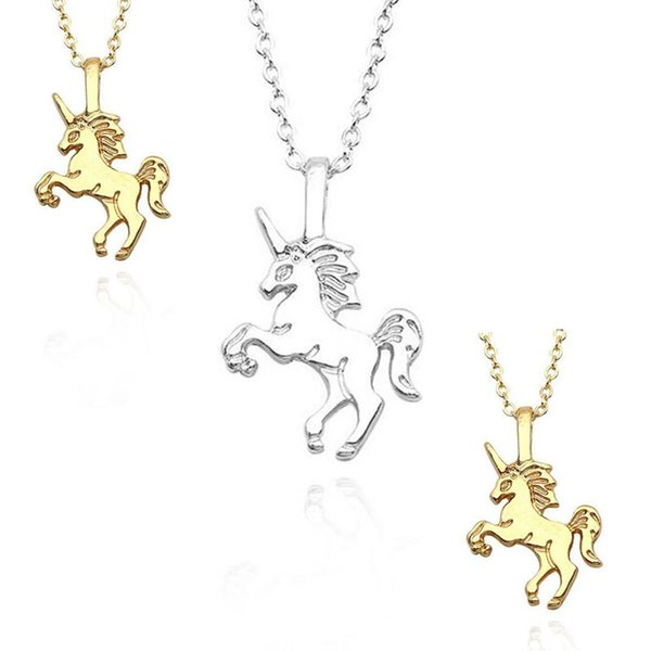 FREE SHIPPING Lovely Unicorn Pendant Necklace For Girls Tiny Unicorn Clavicle Chain Necklace Chokers Animal Jewelry