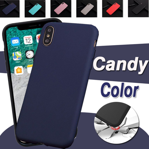 Candy color ultra thin lim matte fro ted oft tpu gel ilicone rubber cover ca e for iphone x max xr x 8 7 6 5 e plu anti knock