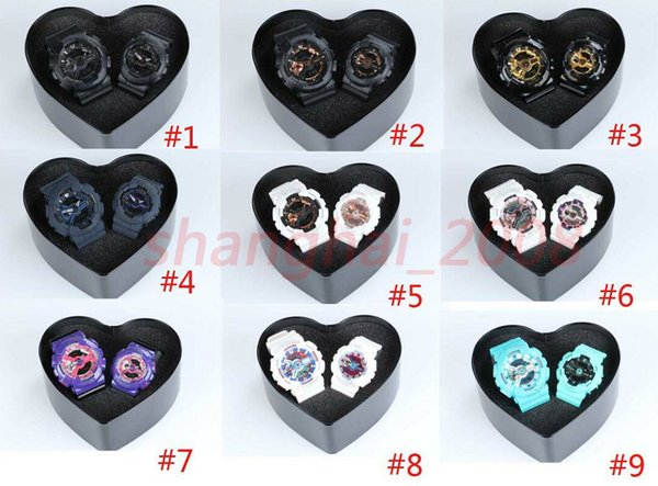 Lovers sports watches women watch men auto light wristwatch couples Waterproof watches Heart Box