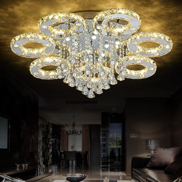 Modern led cry tal ceiling light for home living room dining room re taurant k9 cry tal chandelier light fixture lighting ceiling light lamp