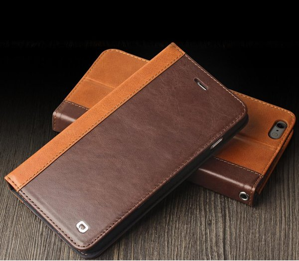 New tyle mix color leather ca e flip cover for iphone6 plu front tand function with card holder