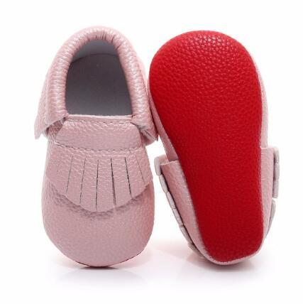 Hot sale red sole PU leather Newborn baby moccasins lovely tassel first walkers baby girls shoes 0-2 years toddler shoes
