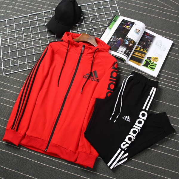 Высокое качество спортивный бренд кардиган костюм повседневная мужская мода открытый мужская одежда дикий свитер костюм черный красный тенденция