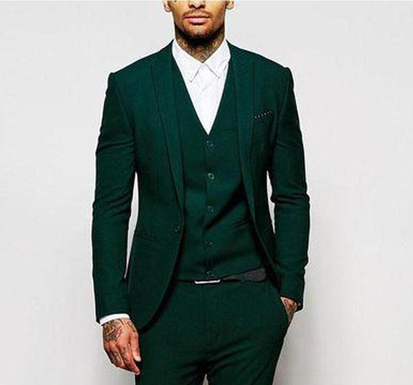 18 Green Formal Wedding Men Suits for Groomsmen Wear Three Piece Trim Fit Custom Made Groom Tuxedos Evening Party Suit Jacket Pants Vest