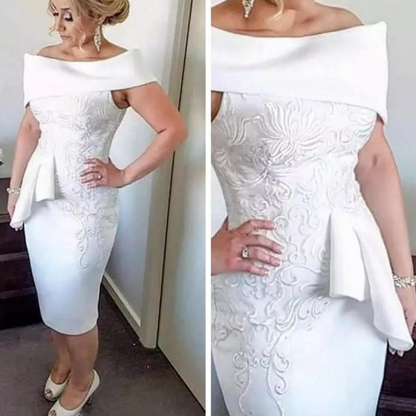 Белый потрясающий вышивка аппликация длиной до колен коктейльное платье 2019 оболочка Off-плечо баски короткие Пром мать платье