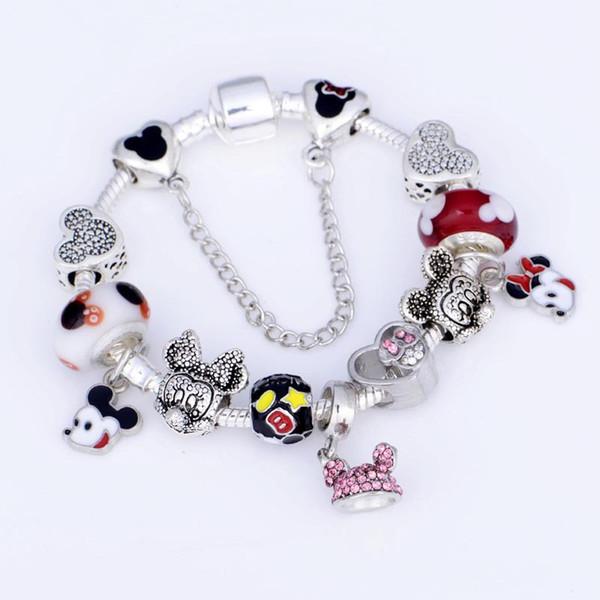 925 Murano Шарм бисер браслет для детей оригинальный DIY ювелирные изделия стиль Fit Pandora мультфильм браслет ювелирных изделий