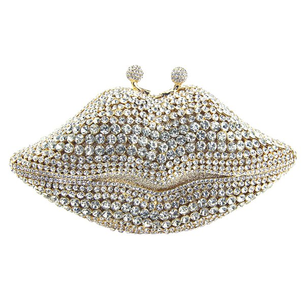 lip shape purse crystal evening bag customized color women latest party clutch evening bags lip purses clutches bag factory wholesale (421881095) photo