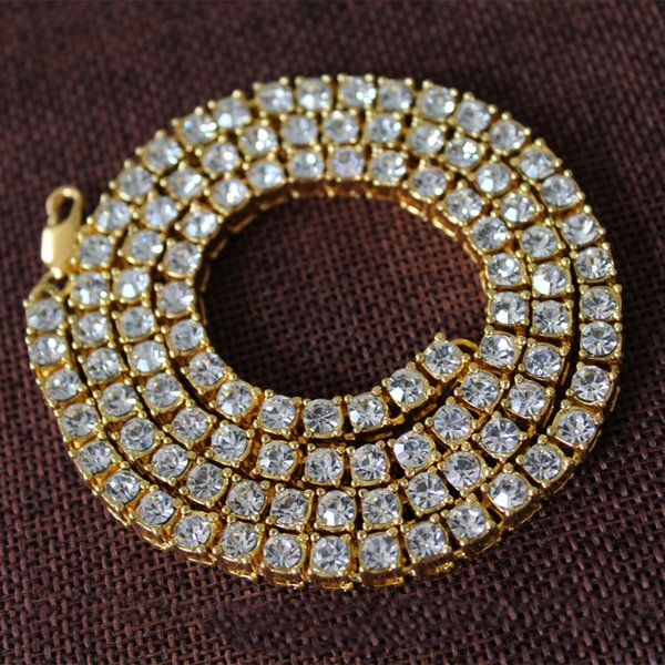 Hip Hop Gold Chain 1 Row CZ Crystal Hip-hop Necklace Chain 60cm Mens Gold/silver Tone Iced Out Punk Necklace