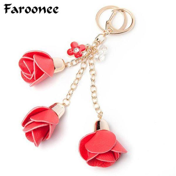 Charms Leather Rose Flower Keychain Cute Tassel Flower Key Chain Women Key Rings Female Bag Pendant Jewelry Llaveros
