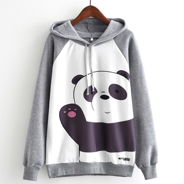 Woman Sweatshirt Panda Say Hello Print Women Hoodie Long sleeve Sweatshirt Hoody Tops Jacket Jumpers Clothes