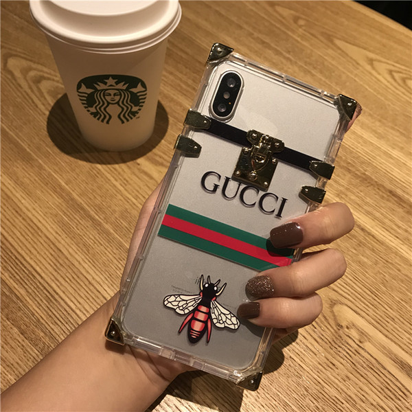 Luxury Designer Phone Case with Bee for IphoneX 7P/8P 7/8 6/6sP 6/6s Fashion Creative Personality Back Cover with Lanyard