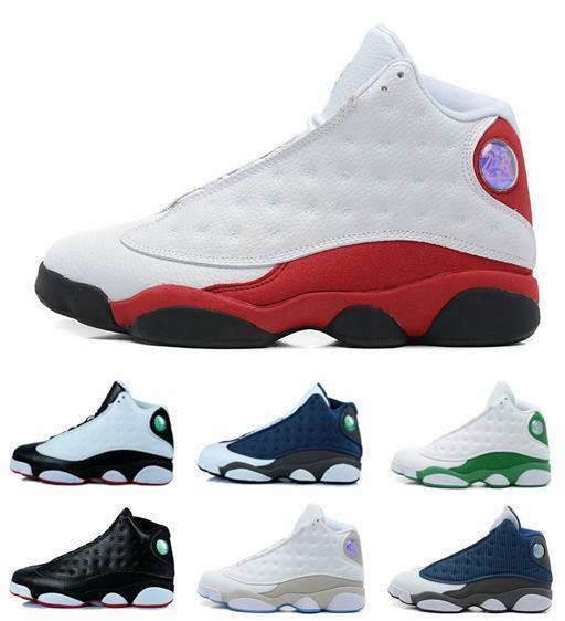 С обувью коробка новый 13 13s черный кот 3M отражают Мужчины Женщины Баскетбол обувь 13s Кремень разводят оливковый тренажерный зал красные кроссовки высокого качества