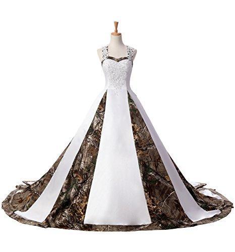 Новейшие A-Line Милая Camo Атласные Свадебные Платья 2019 Кружева Плюс Размер Свадебные