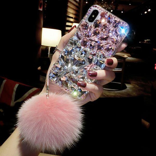 Bling Crystal Diamond Fox меховой шарик кулон чехол для Iphone 11 Pro Max XS Макс XR X 8 7 6 S Plus Samsung Galaxy Note фото