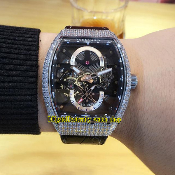 High Quality Luxry MEN'S COLLECTION VANGUARD V 45 S6 SQT NR BR (NR) Skeleton Dial Automatic Mens Watch Silvery Diamonds Case Leather Strap (eternity_watch_shop) Riverside products new