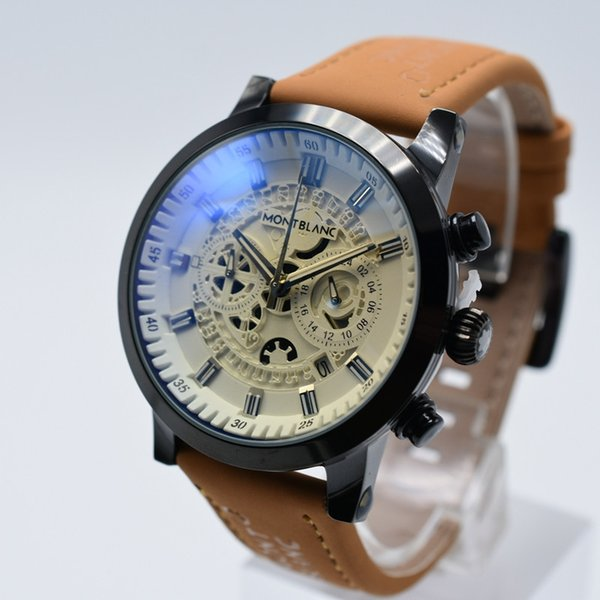 aaa luxury mens designer watches top brand men watch leather brown fashion Wristwatch military sports orologio uomo atmos clock