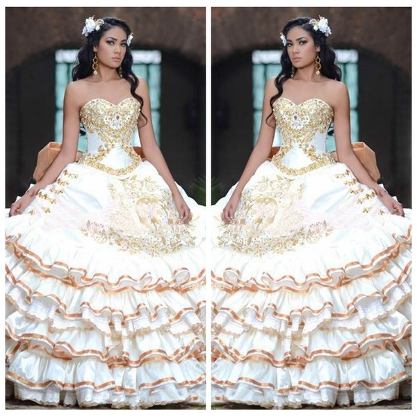 2018 retro weetheart ball gown quinceanera dre e with gold lace applique lace up back cu tom ve tido de quinceanera prom gown