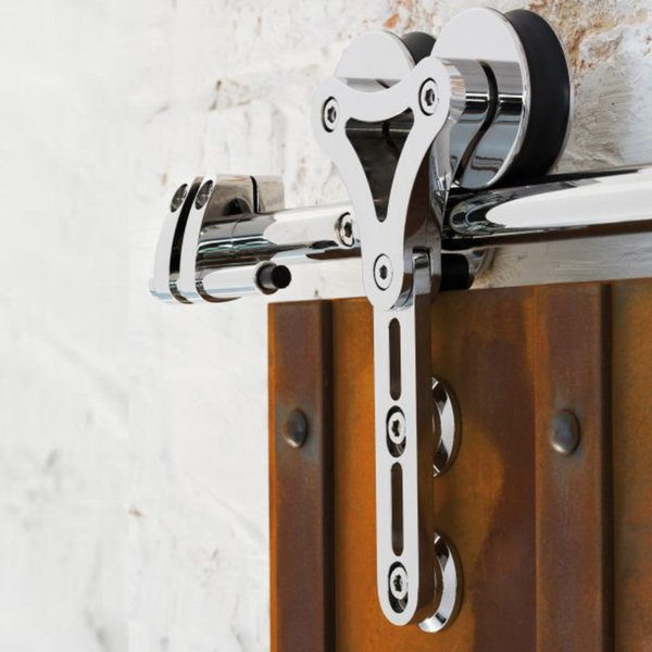 Heavy duty bru hed tainle teel liding barn wood door interior double head hollow out hanger wheel barn track liding kit 5ft 16ft