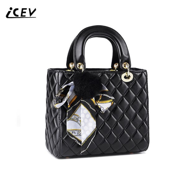 ICEV New Fashion Women Leather Handbags Bags Handbags Women Famous s Cute Scarves Hairball Quilted Organizer Ladies Totes фото