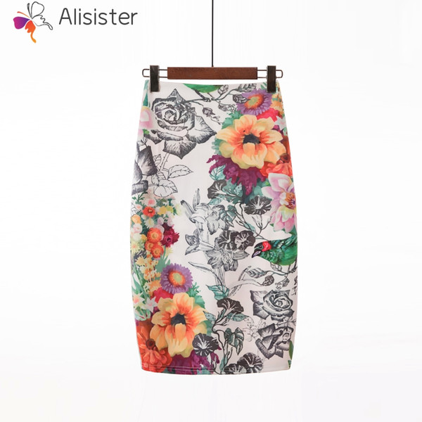 2018 Hot Sale Women Pencil Skirt Bohe Rose Floral High Waist Tight Bodycon Skirts Midi Elegant Casual Office Package Hip Skirt