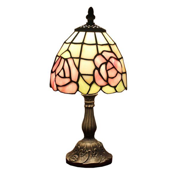 Маленькая настольная лампа Rose Style Table Lamp Освещение Витраж прикроватная лампа