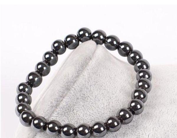Мужские исцеление 6 мм 8 мм черный желчный камень гематит Будда бусины пары здравоохранения полудрагоценный камень Мужчины Женщины браслет ювелирных изделий