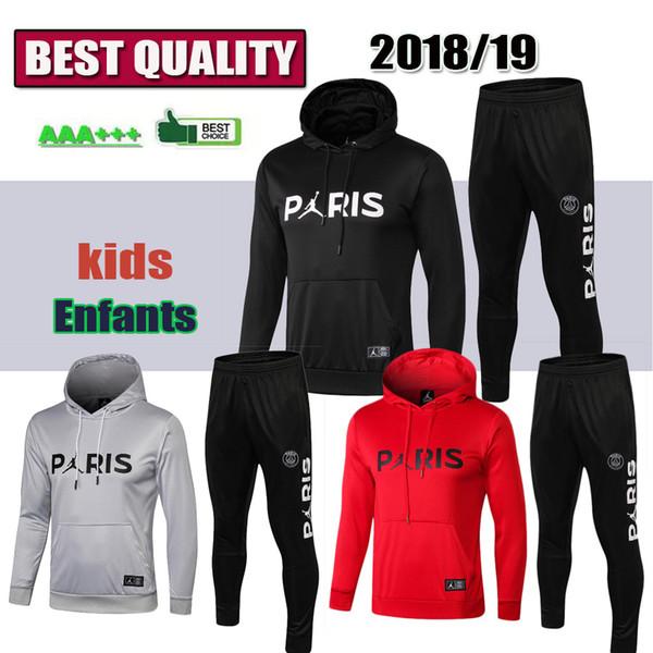 P g track uit new 2018 2019 kid occer training uit 18 19 mbappe cavani maillot de foot pari hoodie child port wear jacket kit