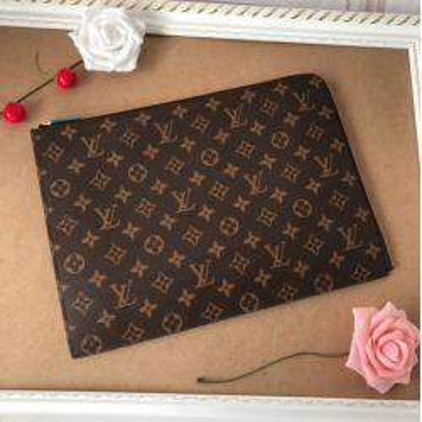 LOUΙS VUΙTTON GUCCΙ M41594 MEN CANVAS ZIP CLUTCH HANDBAG PURSE BAG BROWN OLD FLOWERS wallet Belt Bags Clutches Exotics