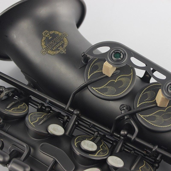 Profe ional mu ical in trument uzuki alto axophone e flat matte black nickel plated urface ax for tudent hipping