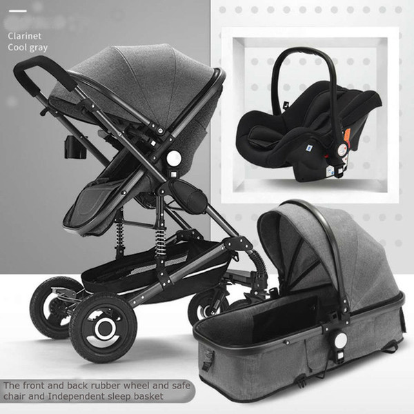 Высокая коляска 3 in1 Коляска для сидения с откидной двухсторонней складной коляской для новорожденных