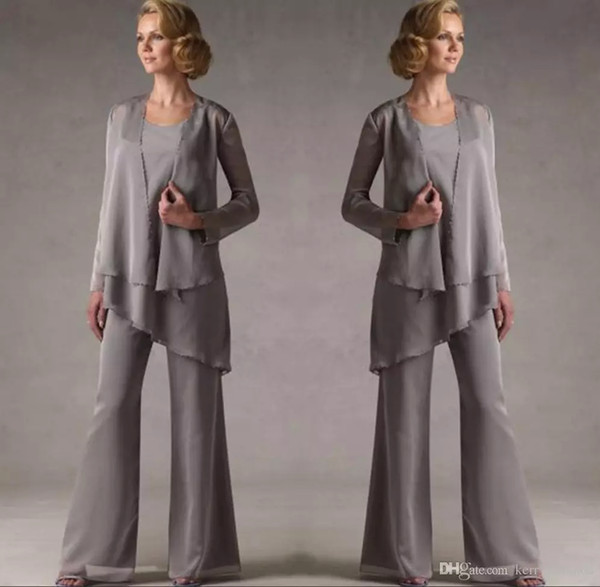 Mother of the groom grey chiffon bridal mother bride pant uit with jacket women evening pant uit long leeve evening dre e